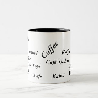 Coffee in different countries, mug black & white