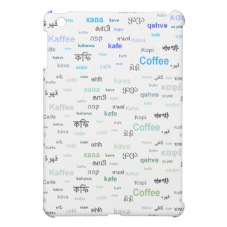 Coffee in different languages - blue cover for the iPad mini