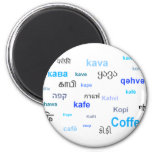 Coffee in different languages - blue magnets