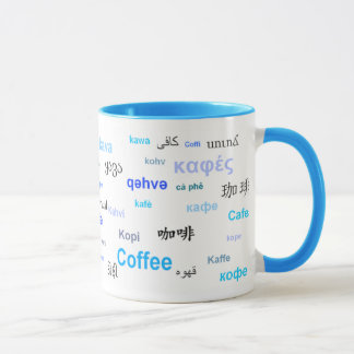 Coffee in different languages (Blue) Mug