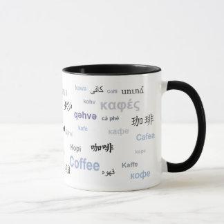 Coffee in different languages (purple/grey) mug