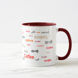 Coffee in different languages (red) mug