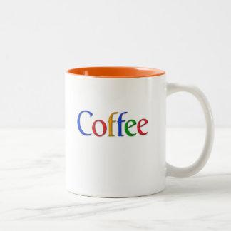 coffee in google font Two-Tone coffee mug