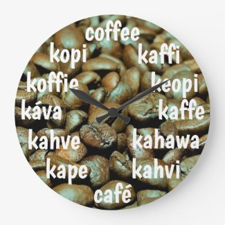 Fun Coffee Beans Large Clock