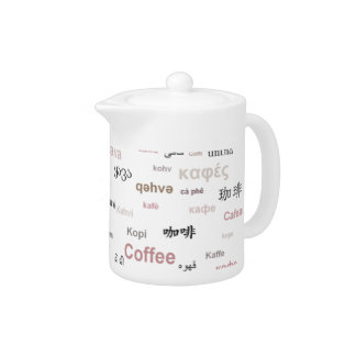 Coffee in many languages coffeepot - brown teapot