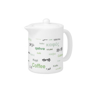 Coffee in many languages coffeepot - green teapot
