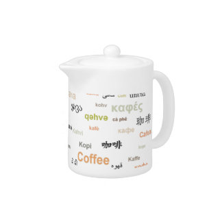 Coffee in many languages coffeepot - orange teapot