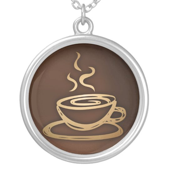 Coffee In My Cup Silver Plated Necklace