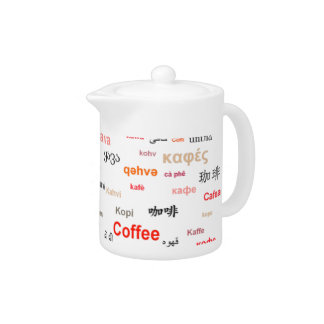 Coffee in other languages coffeepot - red teapot