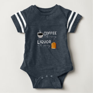 Coffee in the mornings, liquor in the evenings baby bodysuit