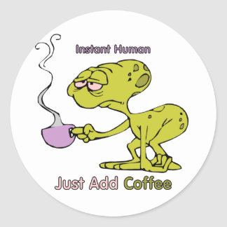 Coffee: Instant Human Classic Round Sticker