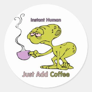 Coffee: Instant Human Classic Round Sticker