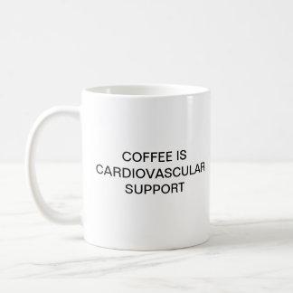COFFEE IS CARDIOVASCULAR SUPPORT BASIC WHITE MUG