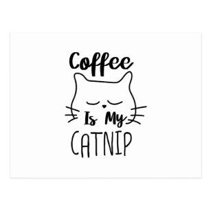 Coffee Is My Catnip Funny Cat Lover Gift Postcard