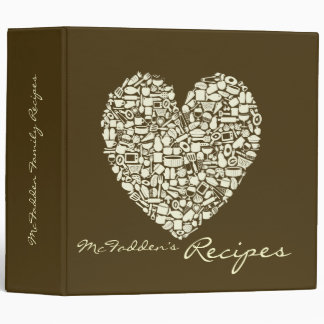 Coffee & Ivory Colored Heart Recipe Binder