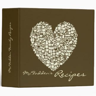Coffee & Ivory Colored Heart Recipe Binder