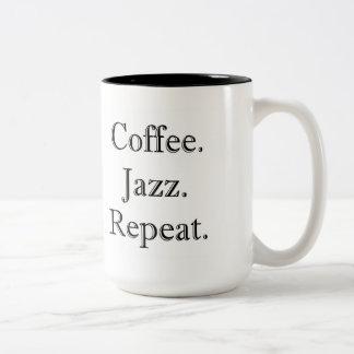 Coffee. Jazz. Repeat. (15oz mug) Two-Tone Coffee Mug