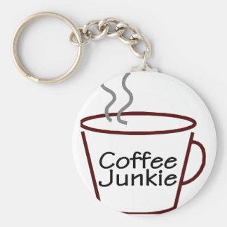Coffee Junkie Basic Round Button Keychain