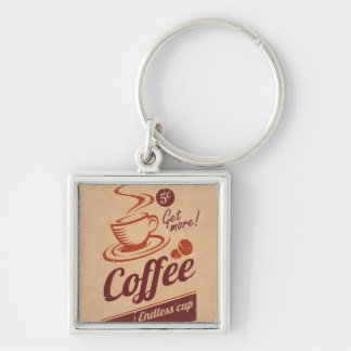 Coffee Silver-Colored Square Keychain