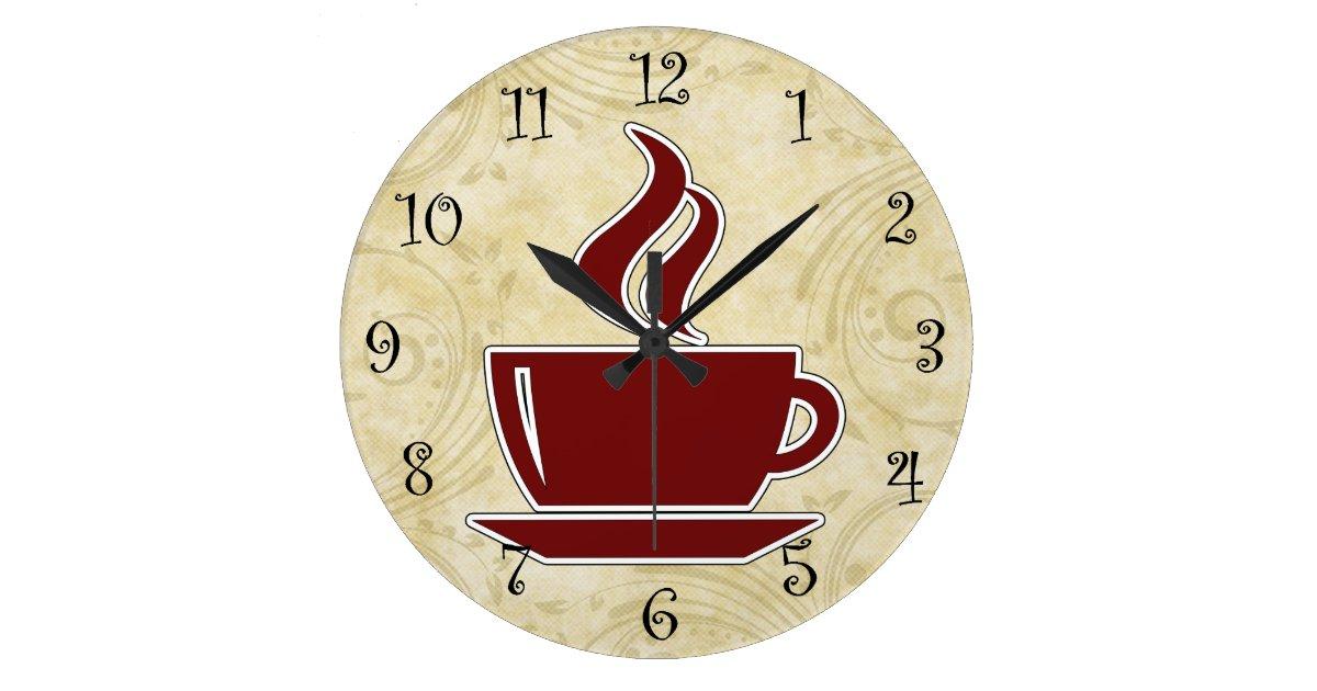 coffee kitchen wall clocks zazzlecom - Kitchen Wall Clocks