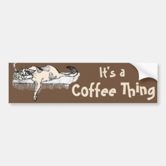"Coffee Kitty is NOT a morning cat *ahem* ""person""! Car Bumper Sticker"
