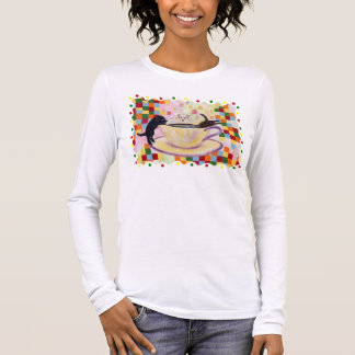 Coffee Labradors Painting with Colorful Dots Long Sleeve T-Shirt