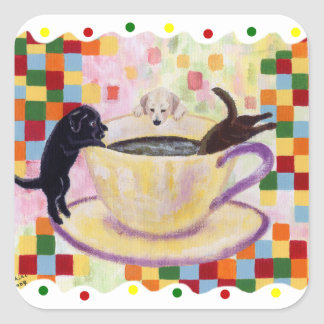 Coffee Labradors Painting with colorful dots Square Sticker