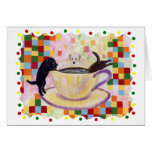 Coffee Labradors with colorful Dots Greeting Card