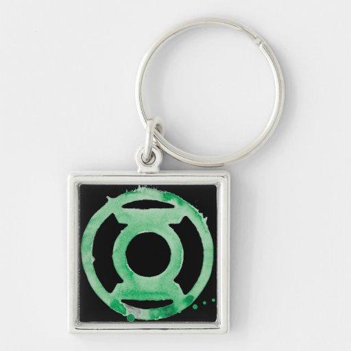 Coffee Lantern Symbol - Green Silver-Colored Square Keychain