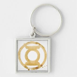 Coffee Lantern Symbol Silver-Colored Square Keychain