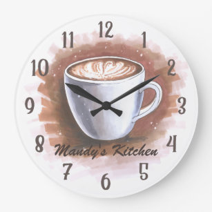 Gentil Coffee Latte Espresso Personalized Kitchen Wall Large Clock