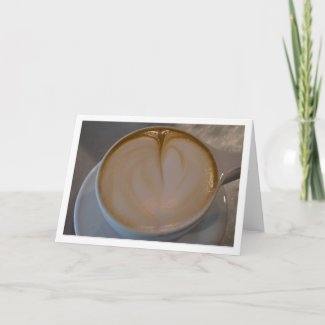 Coffee Latte Fat Heart Blank Card