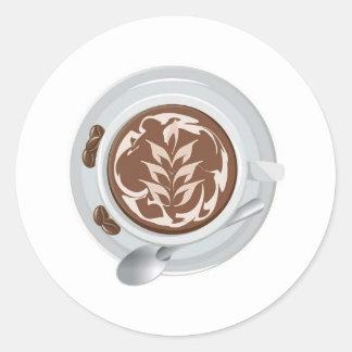 Coffee Leaf Round Sticker