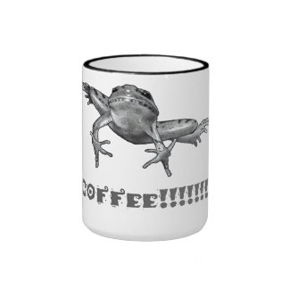 Coffee!!!!!!!!! Leaping Frog, Pencil Art Ringer Coffee Mug