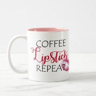 Coffee Lipstick Repeat Two-Tone Coffee Mug