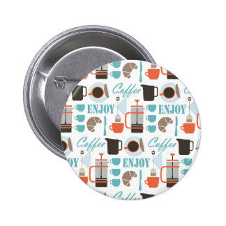Coffee love and café pattern button