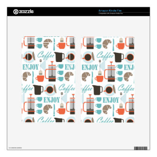 Coffee love and café pattern kindle fire skin