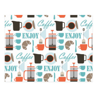 Coffee love and café pattern postcard