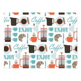 Coffee love and café pattern postcard