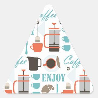 Coffee love and café pattern triangle sticker