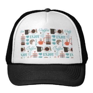 Coffee love and café pattern trucker hat