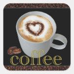 Coffee Love Heart Stickers