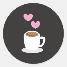 Coffee Love Hearts On Black Classic Round Sticker at Zazzle