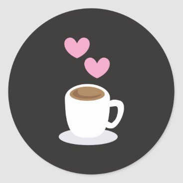 Coffee Themed Coffee love hearts on black classic round sticker