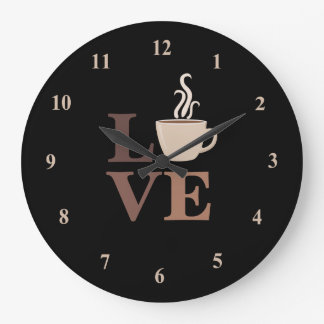 Coffee Love in Black Large Clock