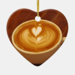 Coffee Love Double-Sided Heart Ceramic Christmas Ornament