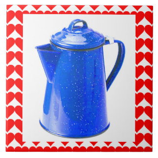 COFFEE LOVE! RED HEARTS & BLUE COFFEE POT! TILES