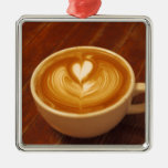 Coffee Love Square Metal Christmas Ornament