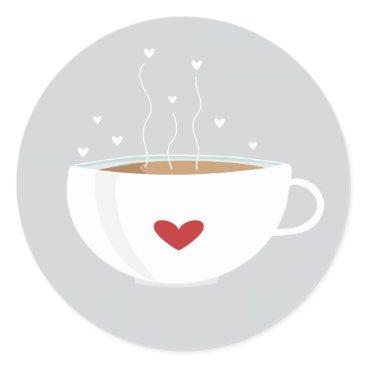 Coffee Themed Coffee Love Sticker on Grey