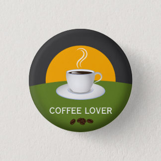 Coffee Lover Cafe Coffee Cup Custom Round Button